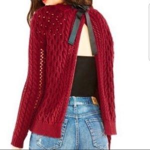 Bethany Mota maroon open back sweater